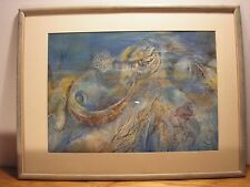 Sammy Luce Mid Century Modern Abstract Watercolor Painting Michigan Artist Tawas