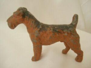 Antique Cold Painted Cast dog Fox Terrier Airedale Art Deco Heavy Figurine
