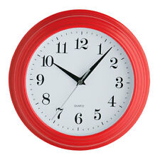 Vintage Round Analogue Plastic Wall Clock Red Home Office Decor New