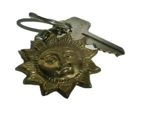 Sun Face Brass Plated Key Ring