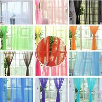 1/2Pcs Home Decor Tulle Voile Window Drape Panel Sheer Scarf Valances Curtain TL