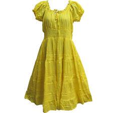 Indian Cotton Smocked Peasant Gypsy Boho Renaissance Dress Yellow