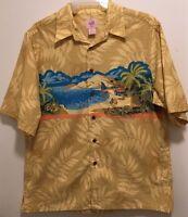 EUC Men's Reyn Spooner Trader Joe's 2008 Yellow Hawaiian Aloha Camp Shirt L