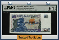 Tt Pk 7 1997 Zimbabwe Reserve Bank 20 Dollars Pmg 64 Epq Choice Uncirculated!