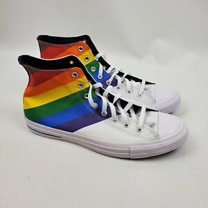 Converse Chuck Taylor All Star Sneaker 9.5 CTAS Hi Rainbow White 167758C Mens 1A