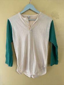 VTG 60s 70's Champion T Shirt Size XL Youth Baseball Henley Style Shirt rare