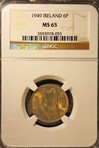 1949 Ireland 6 Pence NGC MS 65               ** Free U.S. Shipping **
