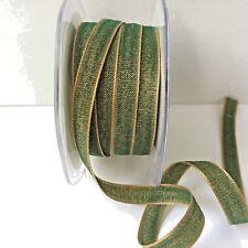 3/8 Inch Solid Two Tone Ribbon - May Arts AF16 - Dk Green & Tan - 5 yards