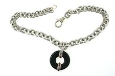 Judith RIpka Sterling Silver Necklace W/ Black Onyx & Red Stone Pendant