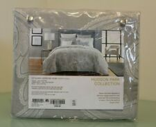 Hudson Park Modern Scroll Full/Queen Duvet Cover Grey Embroidery