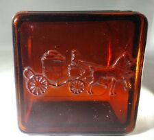 RARE ANTIQUE DOBBS HATS  RED PROMOTIONAL GLASS BOX RINGS JEWELRY TRINKET