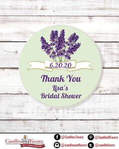 Lavender Flowers - Round Personalized Bridal  Wedding Shower Sticker Labels
