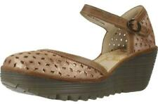 Fly London Yven029fly Luna Camel Womens Leather Wedge Sandals