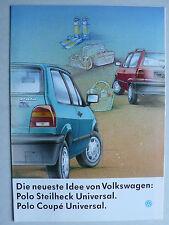 Prospekt Volkswagen VW Polo Sondermodell Universal Steilheck/Coupe, 2.1992, 8 S.