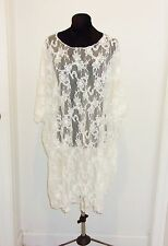 WHITE STYLISH WEAR STRETCH LACE WOMEN'S BATHING SUIT COVER- UP O/S