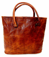 Women Vintage Looking Genuine Brown Leather Tote Shoulder Bag Handmade Purse