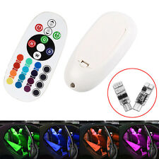 2pcs Light Dome Lamp Bulb Remote Control T10 RGB 6 LED Car SUV Interior Panel