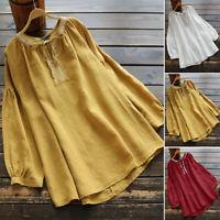 UK Womens Cotton Ladies Puff Sleeve Sleeve V Neck Tops Shirt Blouse Plus Size