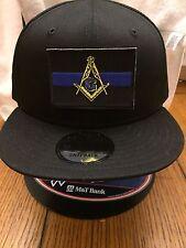 New Era NE400 Black Snapback Flat Bill Cap w/ THIN BLUE LINE MASONIC LAW POLICE