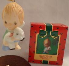 Betsey Clark Ornament Hallmark 1985 Angel Lamb Porcelain Christmas Hand Painted