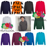 Mens Sweatshirt Fruit Of The Loom Raglan Sweat Pullover Plain Top Jumper sweater