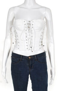 Dolce and Gabbana  Womens Lace Up Strapless Bustier White Size Small