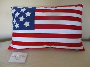 MINA VICTORY  NOURISON American FLAG Throw Pillow Red/White/Blue 4th of July NEW