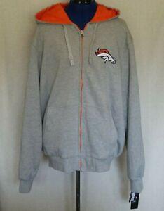 NFL Denver Broncos Mens Hoodie Jacket Size XL Reversible Full Zip Orange Gray