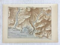 1881 Antique Military Map of Genoa Italy Sampierdarena Port Italian Liguria