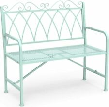 "Stylish 40.7"" Metal Loveseat Bench with Armrests Porch Bench for Garden, Green"