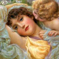 """Canvas Print Girls and Angel Oil Painting HD Printed on canvas 16""""x16"""" L766"""