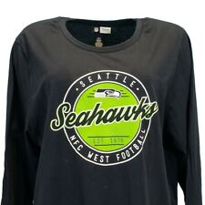 Seattle Seahawks Women's NFL Long Sleeve T Shirt Navy Blue Plus Size 1x 2x 3x 4x