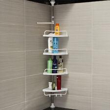4 TIER BATHROOM SHOWER KITCHEN HANGING CORNER SHELF CADDY STORAGE RACK RAIL UK