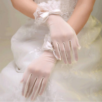 Ivory Short Wedding Gloves Bridal Beaded Lace Formal Evening Party Gloves Stock