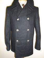 """Vintage 1979 US NAVY PEA COAT Naval Clothing Kersey Wool Pembroke 36"""" Euro 46"""