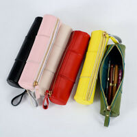 Handmade Cowhide Leather Vintage Zipper Pen Pencil Case Stationery Storage Bag