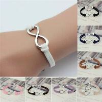 Handmade Infinity Bracelet Silver Lucky 8 Friendship Leather Bangle Jewelry Gift