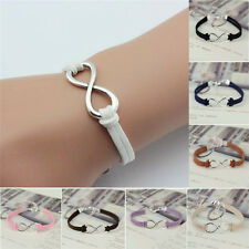 Handmade Infinity Bracelet Silver Lucky 8 Friendship Leather Bangle Jewelry Gift