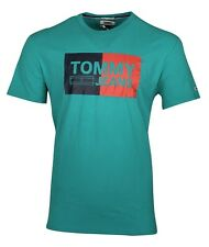 Tommy Hilfiger Men's Cotton Graphic Logo T-shirt - Regular Fit - Green