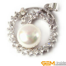 Fashion 10-11mm Freshwater Pearl GP Base with Rhinestone Jewerly Pendant 24x28mm
