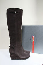 New sz 11 / 41 Prada Double Buckle Brown Suede Wedge Heel Tall Boot Womens Shoes
