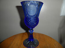 Goblet Glass Blue President Avon Ribbed Diamond Washington
