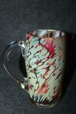 AMAZING ART GLASS GRAY E/ AMBER CLEAR GLASS SIGNED HANDLED RARE MUG RETRO