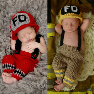 lovely handmade baby firefighters  handknit newborn Clothes Photo Prop clothes