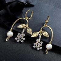Boucles d'oreilles Creole Doré Art Deco Chandelier Branche Raisin Perle AA33