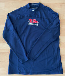 Nike Ole Miss Baseball mens Navy pullover sweatshirt Size XL New