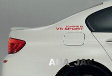 Powered by V8 SPORT Racing Vinyl Decal speed car emblem logo sticker RED