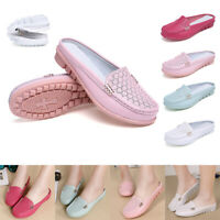 US 10 Women's Genuine Leather Casual Flat Shoes Moccasins Loafers Comfy Slip On