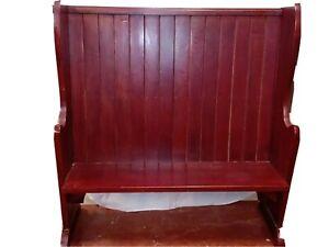 Church Pew High Back Dark Wood Rustic Bench      -B11