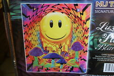 TYE DYE SMILE SMILEY FACE MUSHROOM HAVE A NICE TRIP QUEEN SIZE BLANKET